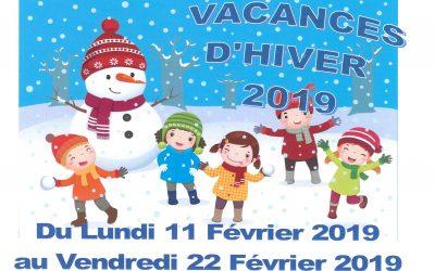 Inscriptions centre de loisirs, Vacances d'hiver 2019